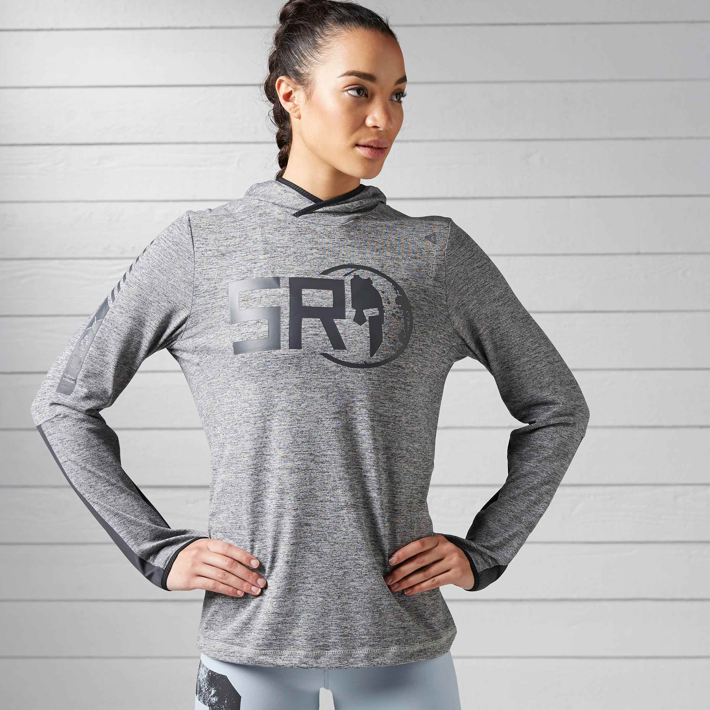 Reebok Spartan Long Sleeve Hooded T-Shirt